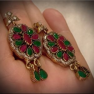 RUBY EMERALD DANGLE EARRINGS Solid 925 Silver/Gold